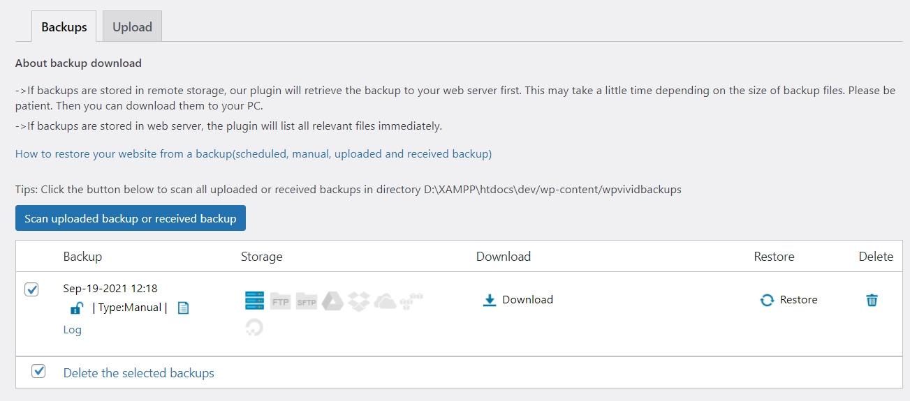 khôi phục wordprsss với wpvivid backup plugin