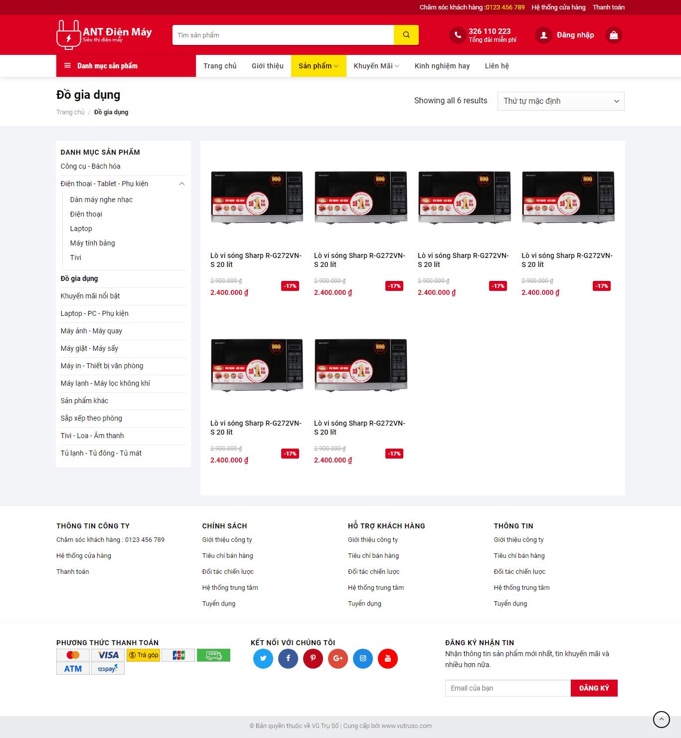 Mẫu website thương mại điện tử ANT