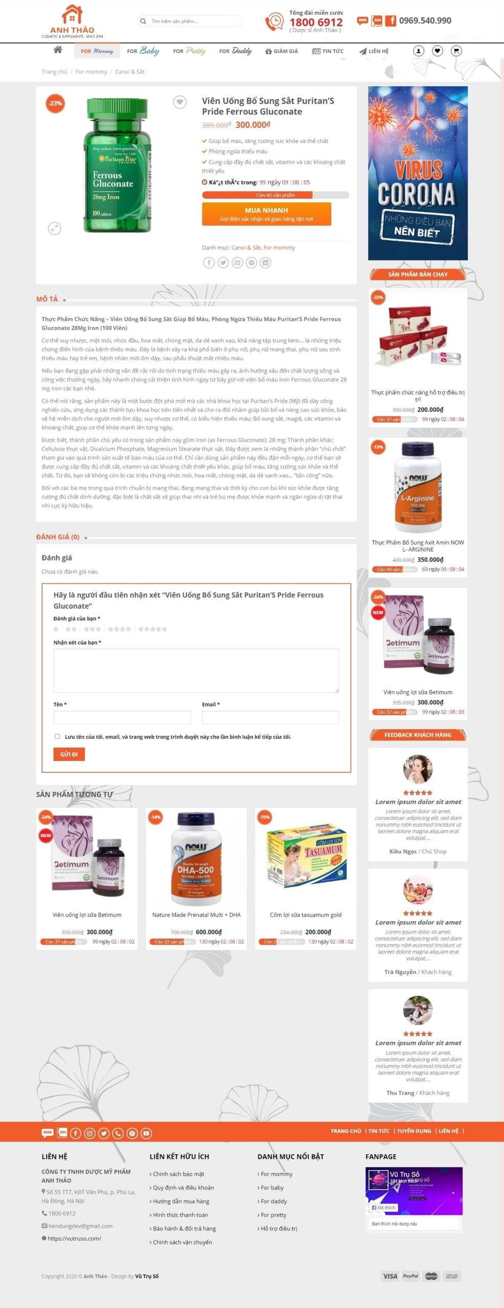 Mẫu website bán mỹ phẩm, bán thuốc bổ – Anh Thảo