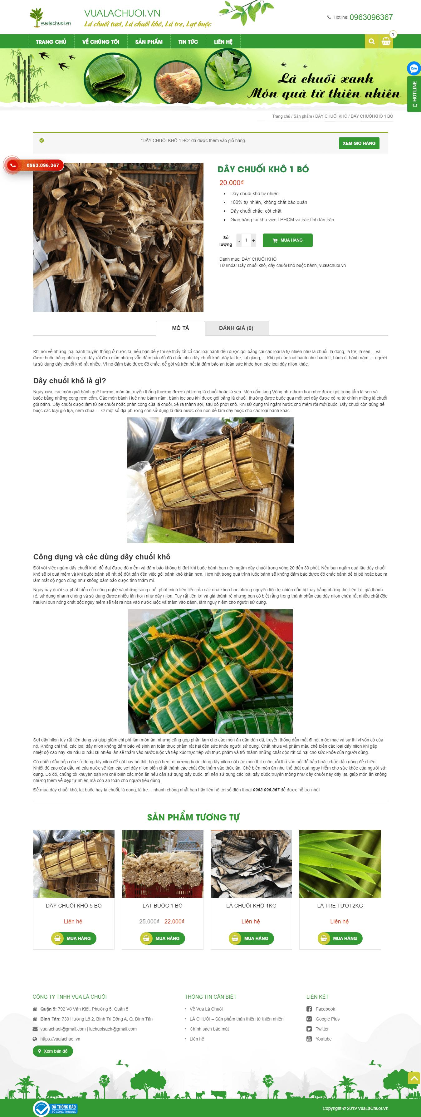 Mẫu website trưng bày sản phẩm – Vua Lá Chuối
