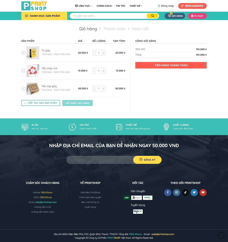 Mẫu giao diện website in ấn HPMEDI