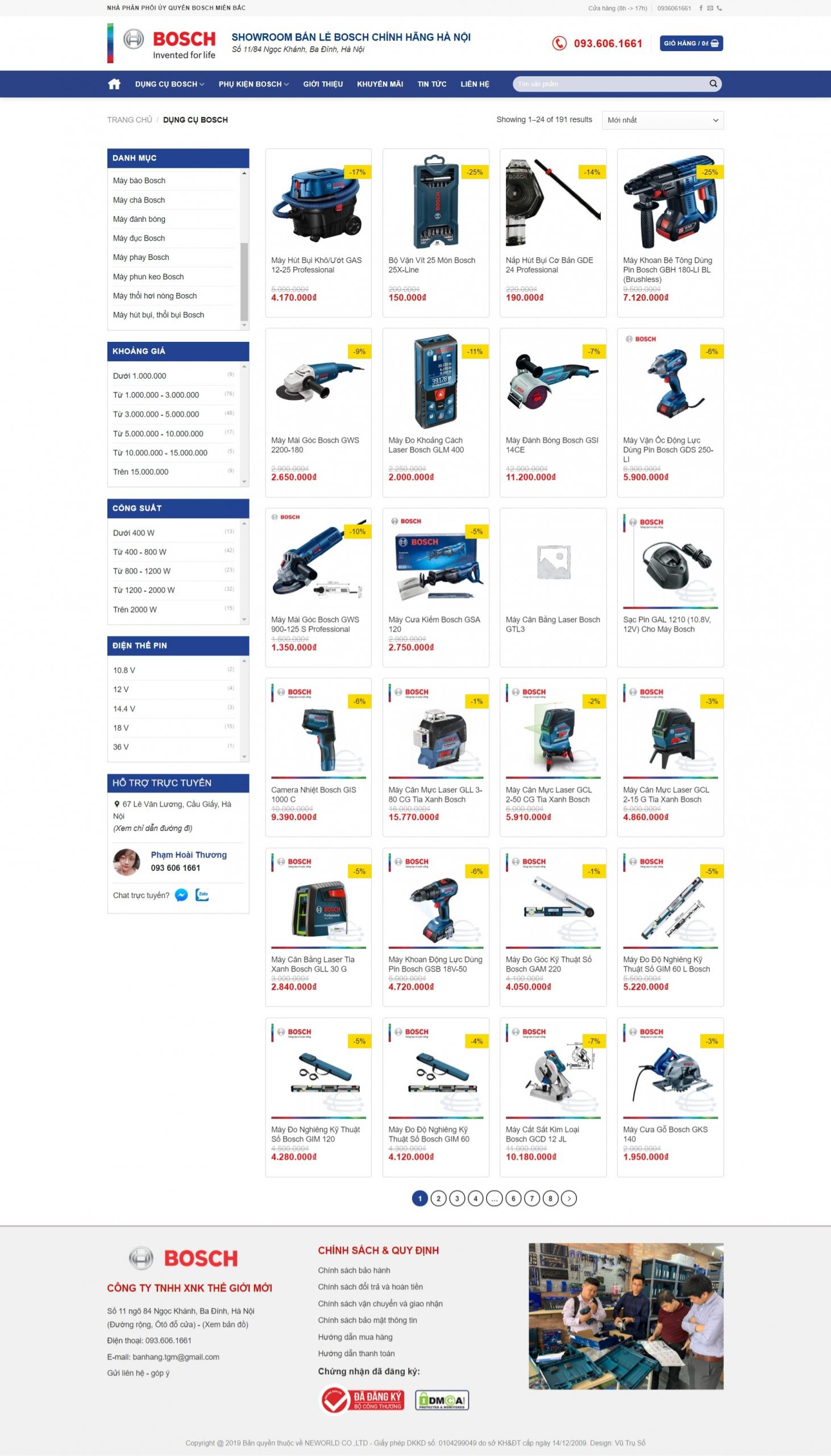 Mẫu web bán thiết bị điện dân dụng – BOSCH