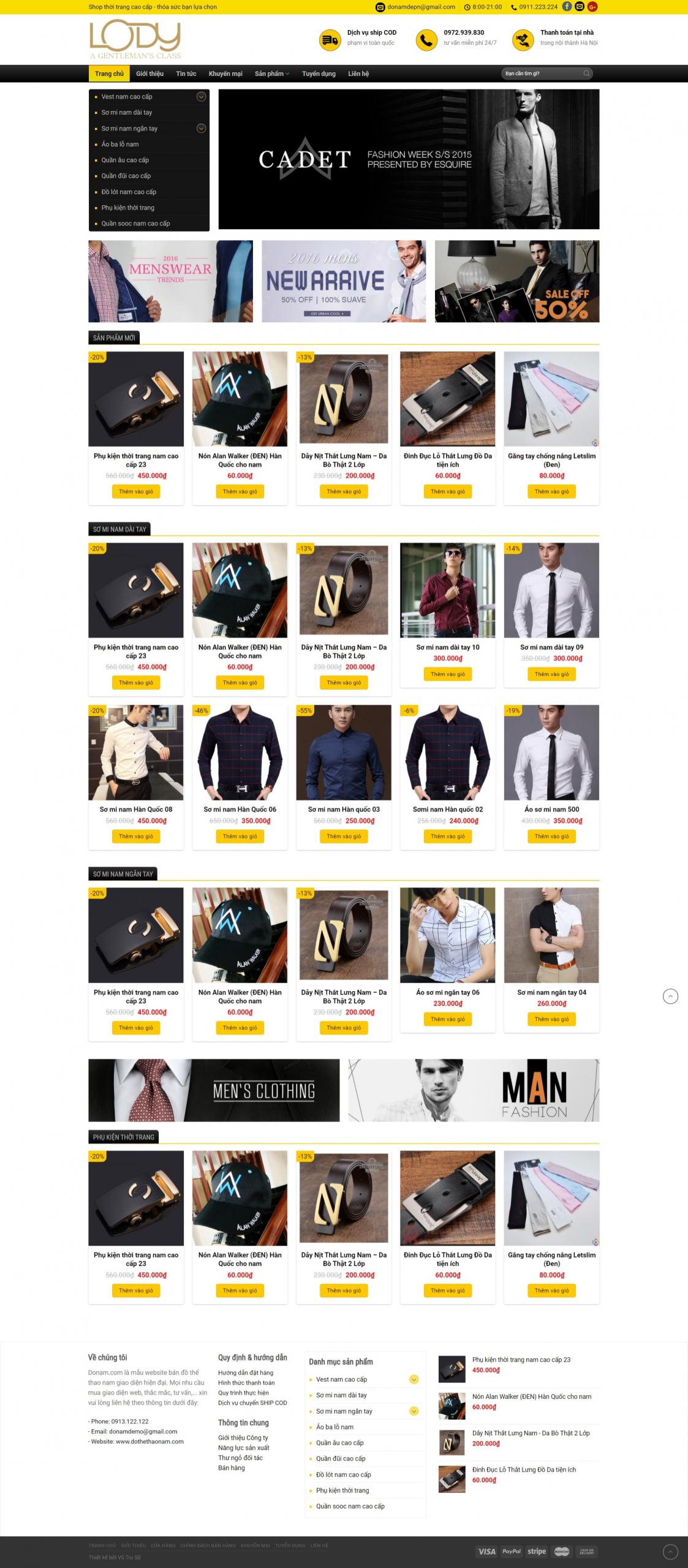Mẫu website bán đồ thời trang Nam – Nữ – Lody
