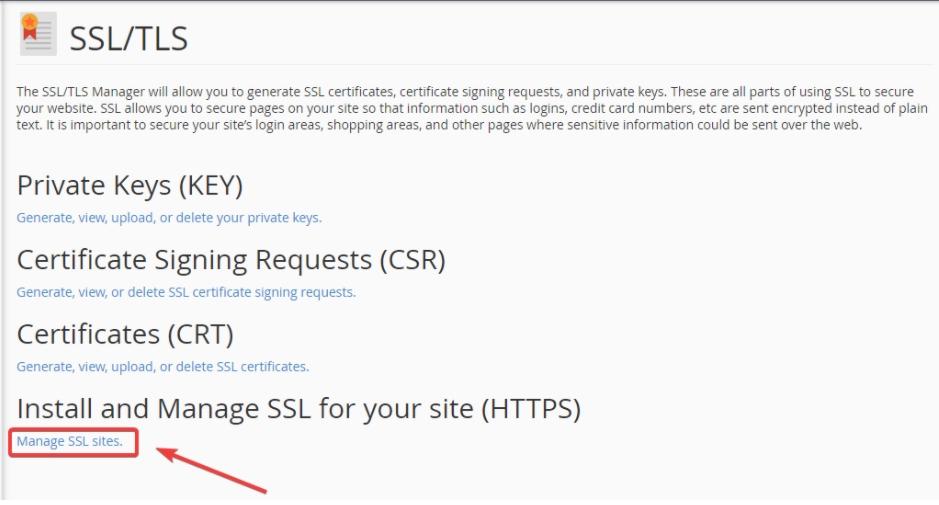 nhấn chọn mục manage ssl sites