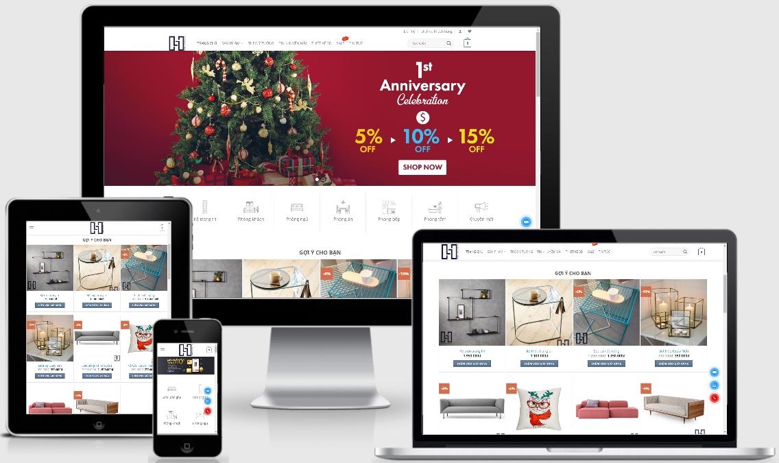 Mẫu website bán nội thất online – Hyfurniture