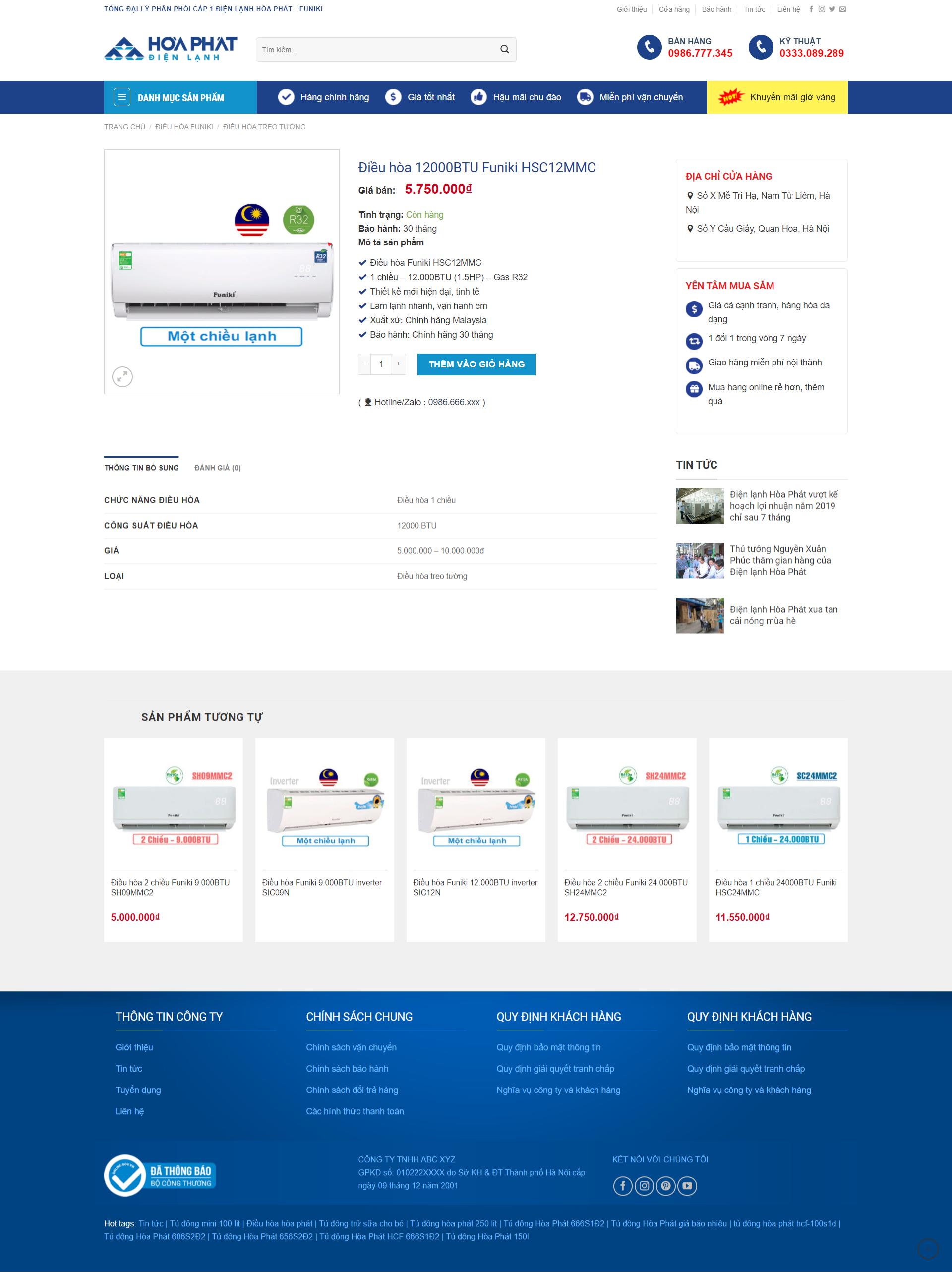 Mẫu website điện lạnh Hòa Phát