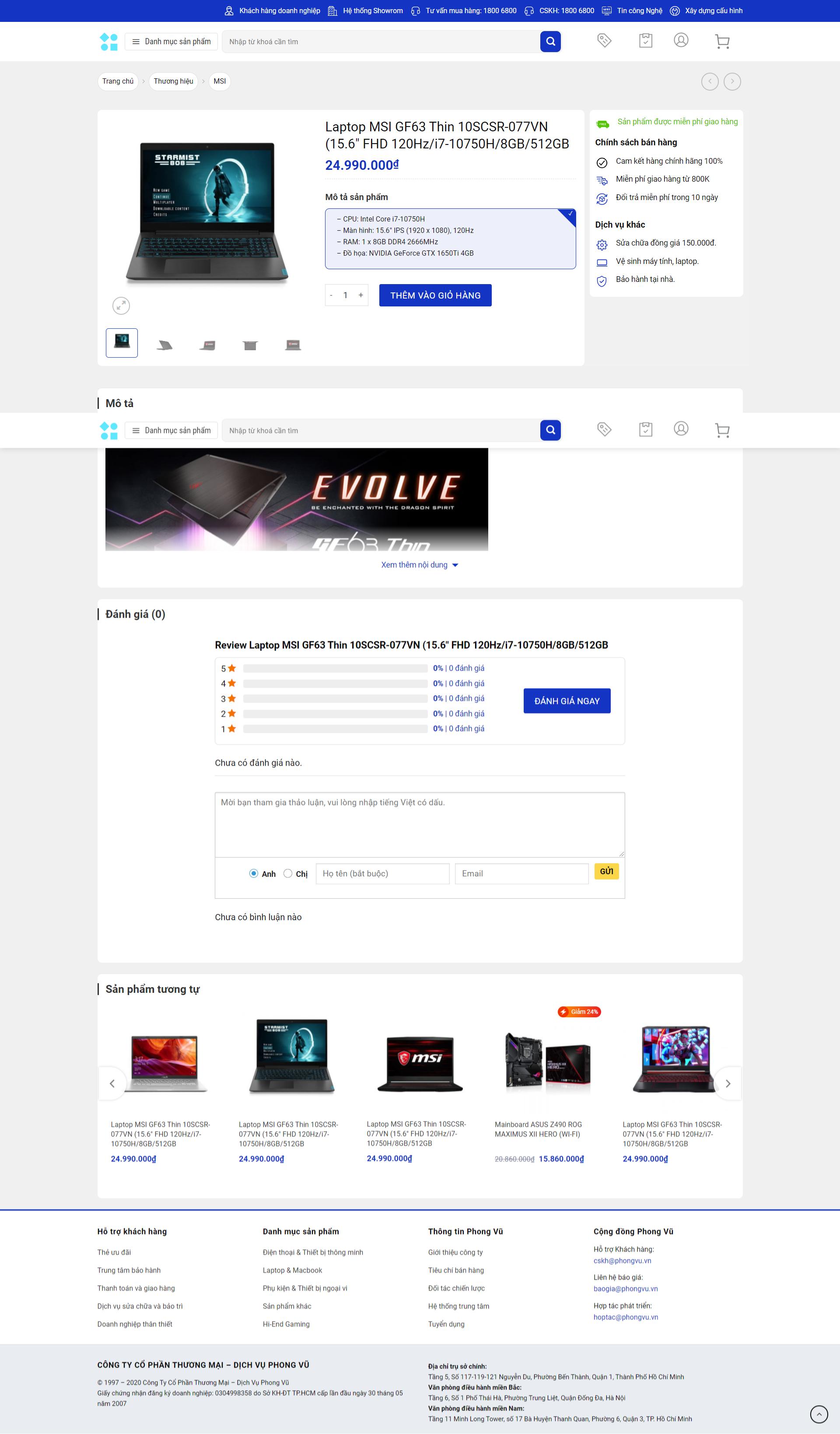 Mẫu website điện máy giống phongvu