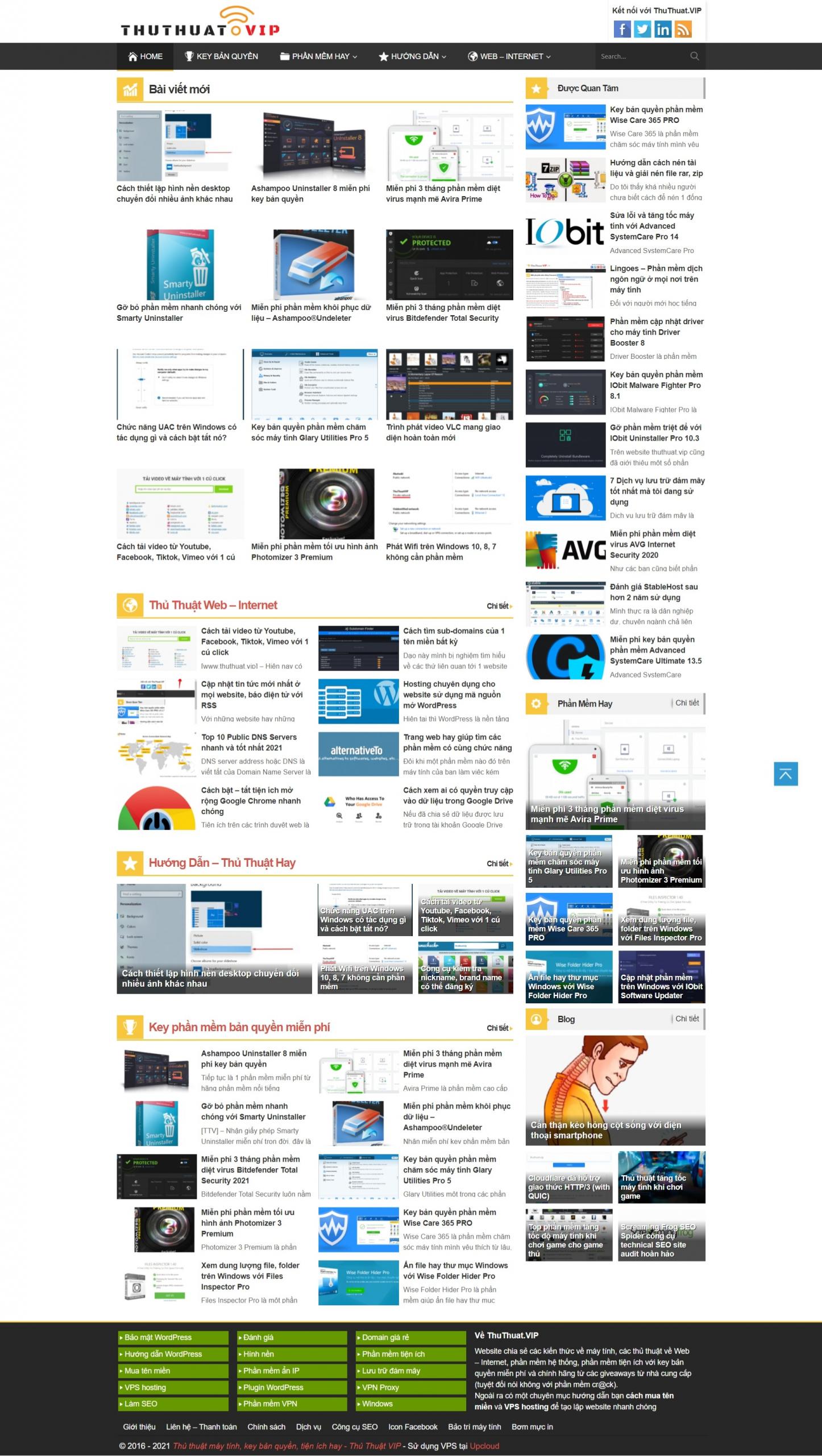 Mẫu giao diện website công nghệ – Thủ Thuật VIP