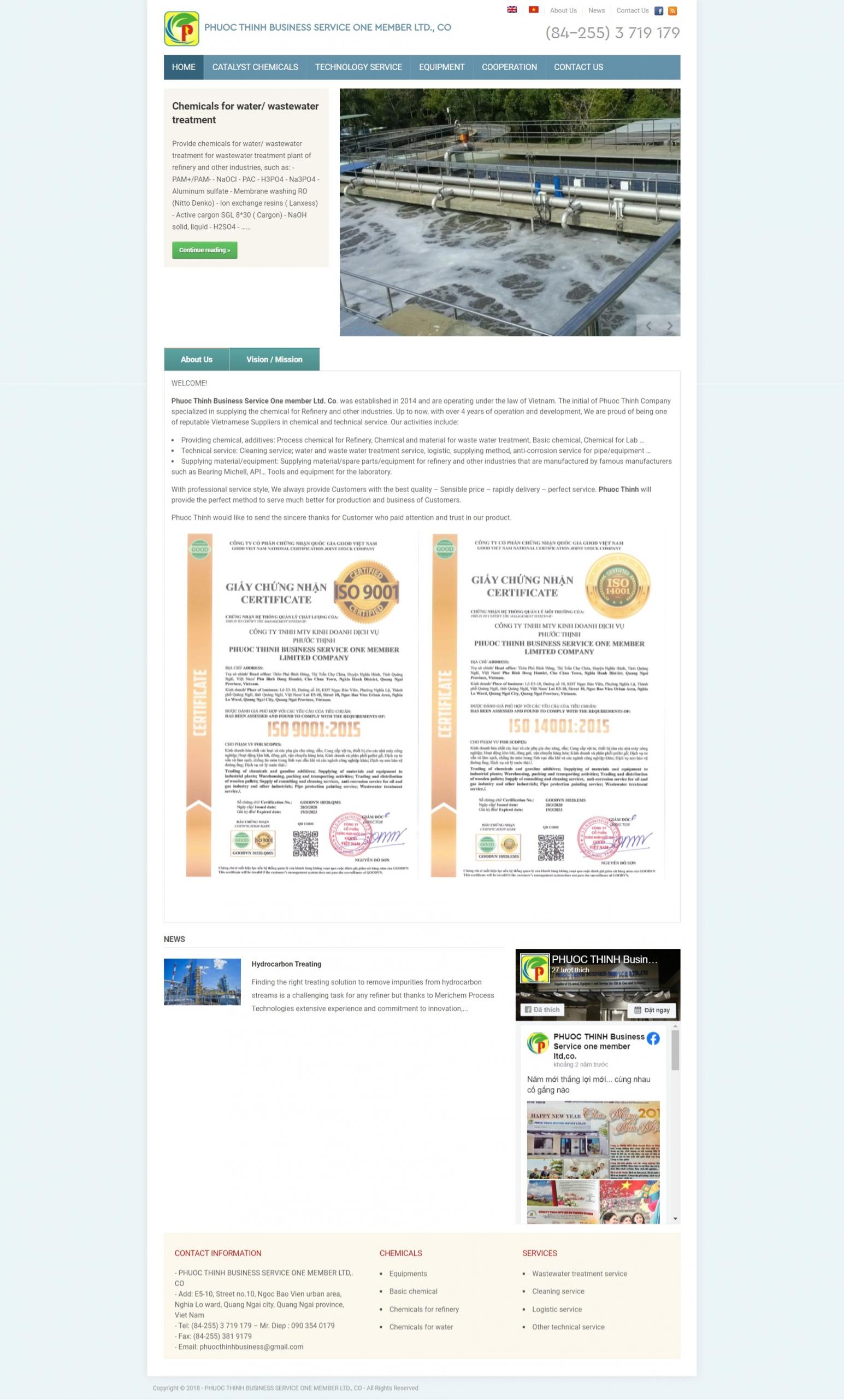 Mẫu website giá rẻ cho công ty – Phước Thịnh
