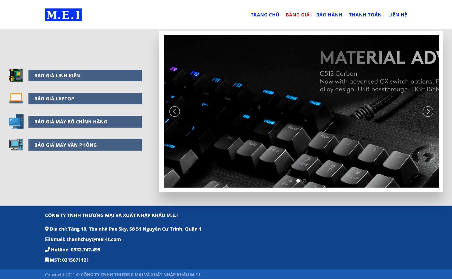 Mẫu website miễn phí cho công ty công nghệ – MEI