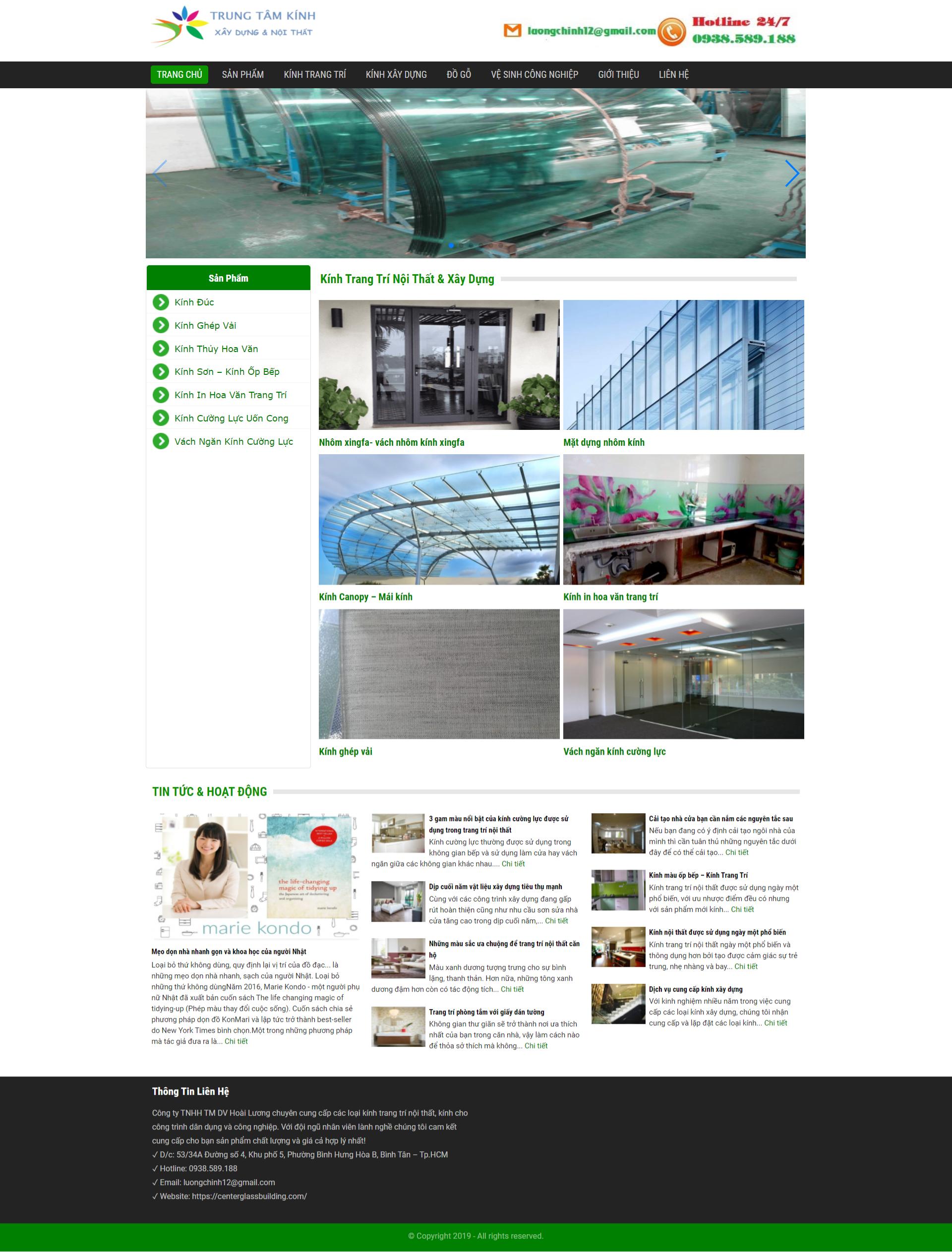 Mẫu website kính trang trí – CGB