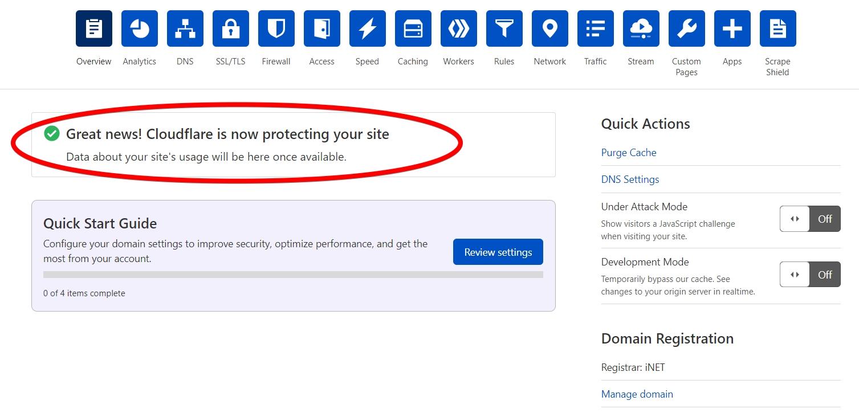 cập nhật dns sang cloudflare thành công