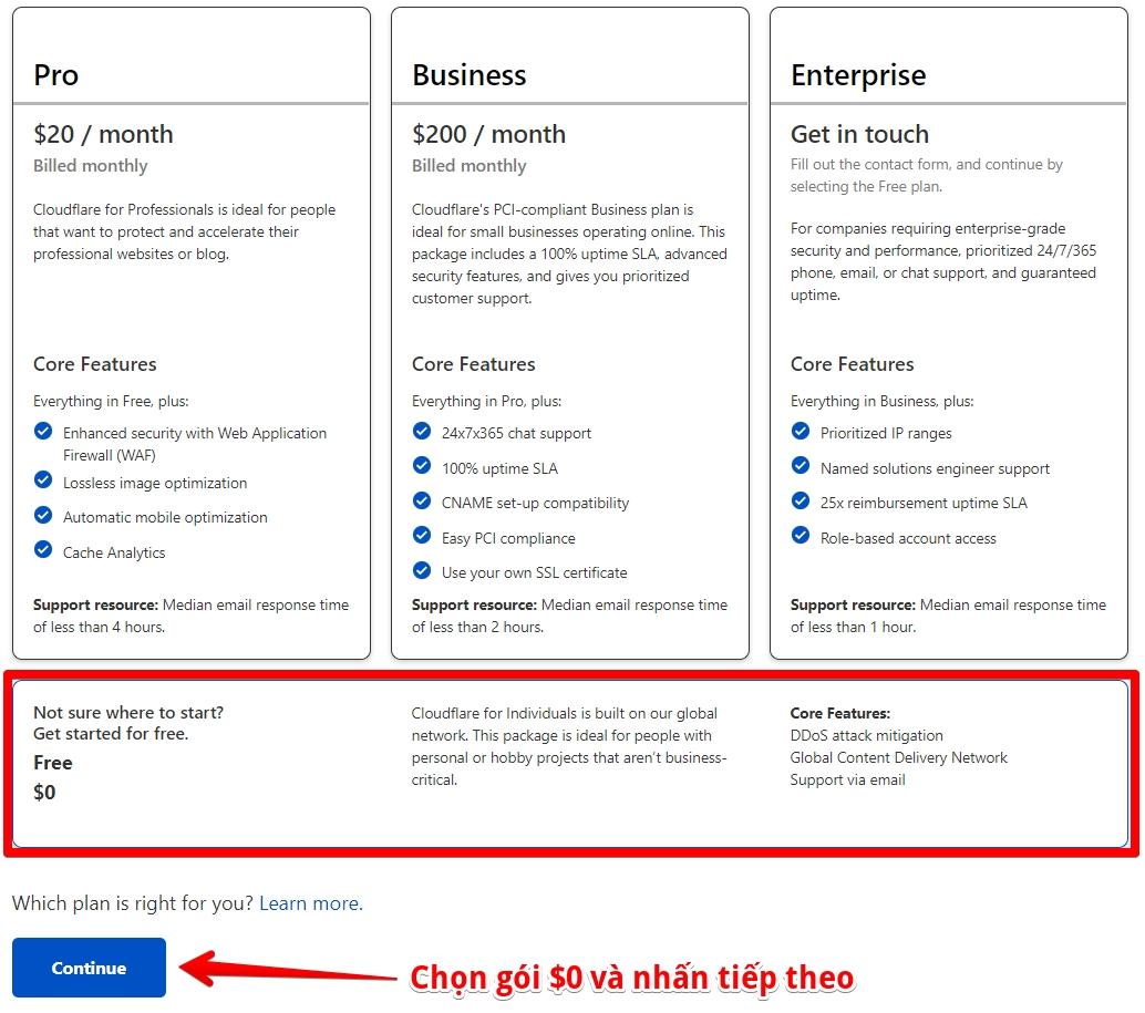 chọn gói miễn phí trên cloudflare