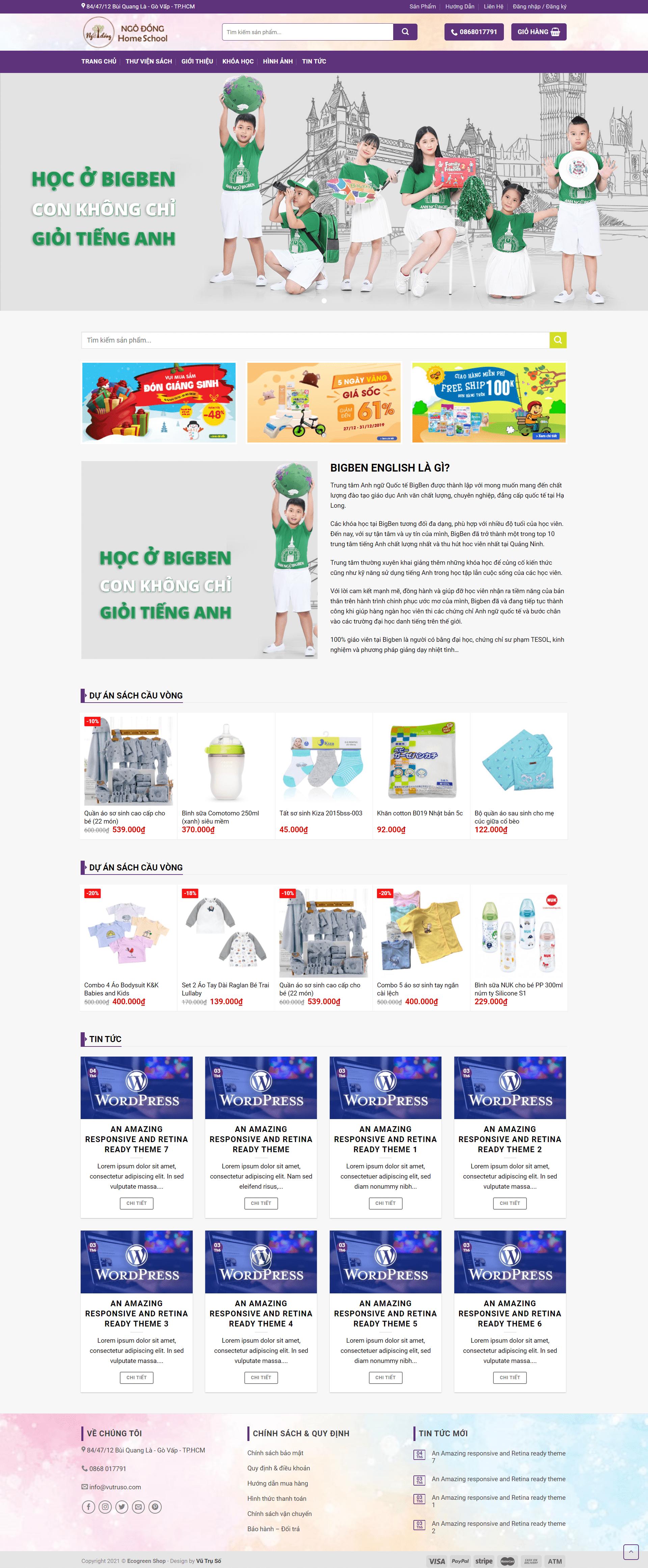 Mẫu website đẹp về giáo dục + bán hàng – Ecogreen Shop