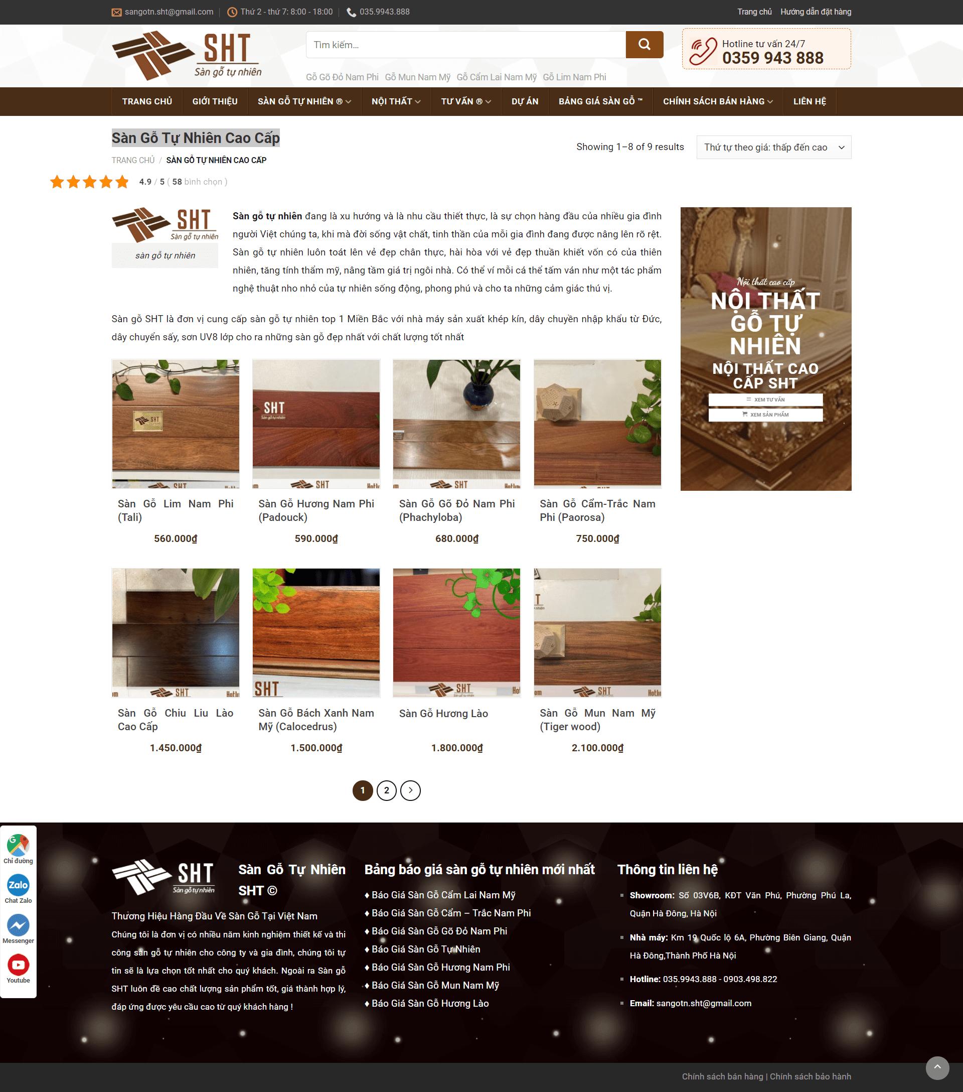 Mẫu website bán sàn gỗ SHT – WordPress