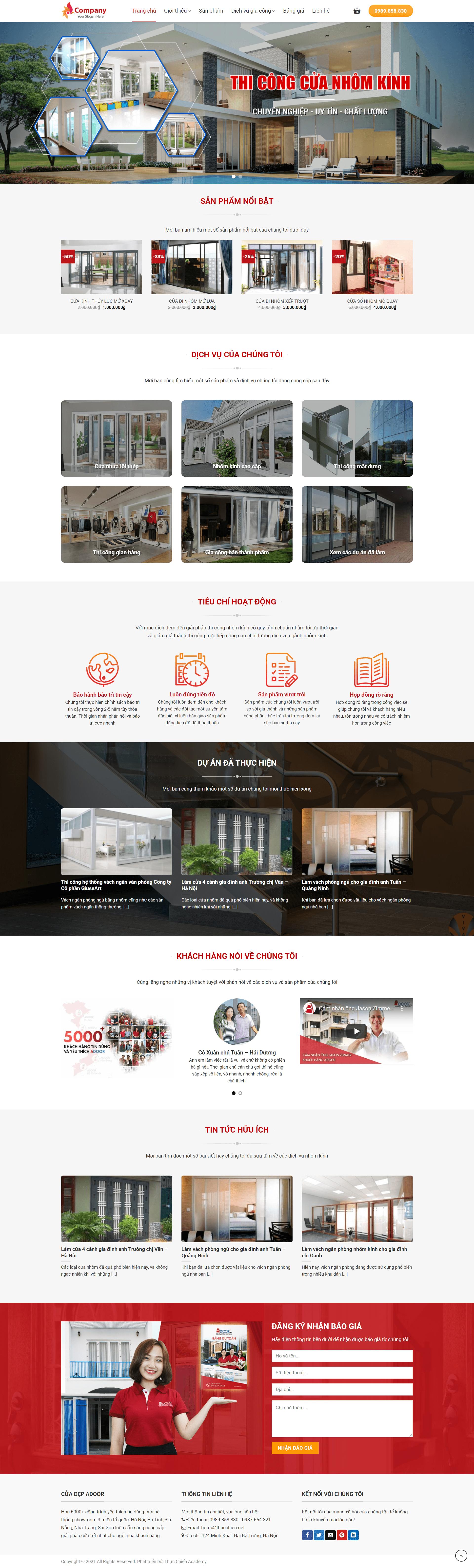 Mẫu website cho công ty cửa kính, nhôm – Flatsome