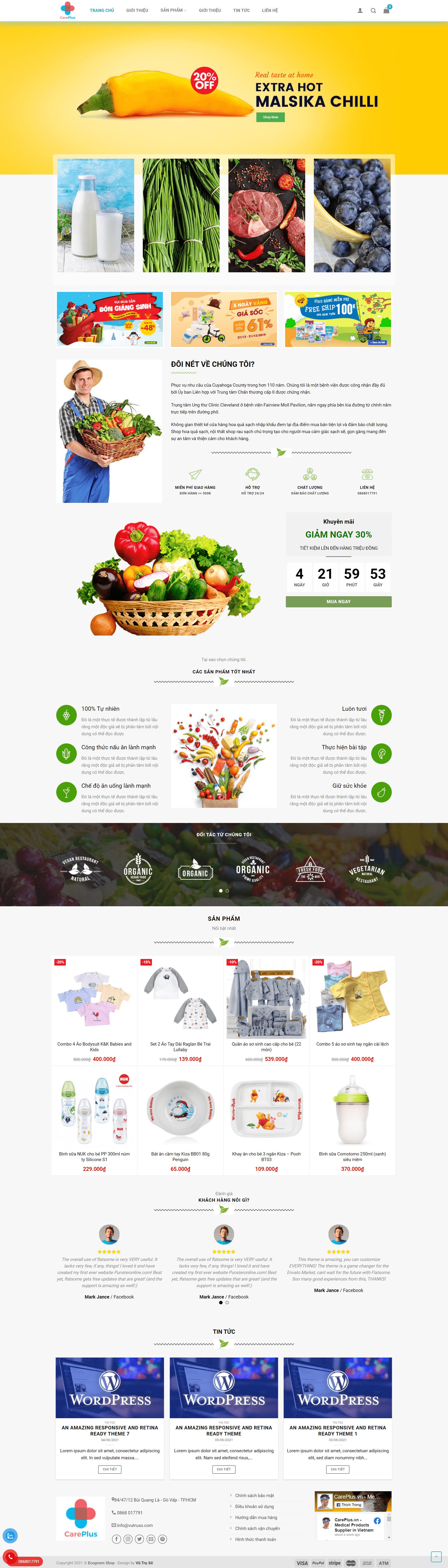 Mẫu website bán thực phẩm online – Careplus