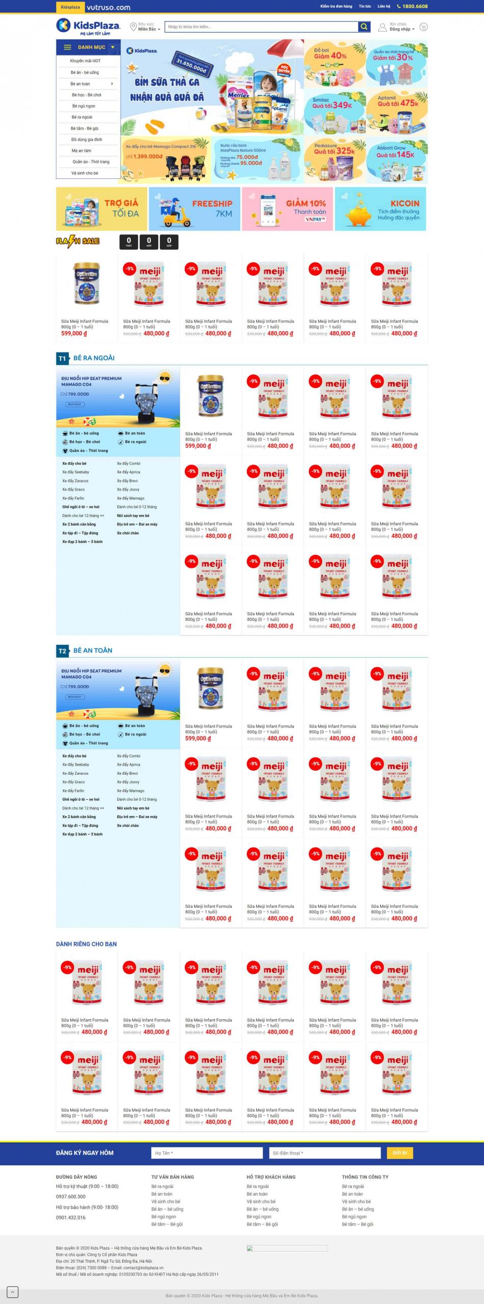 Mẫu web bán hàng đẹp từ Flatsome – Kidsplaza