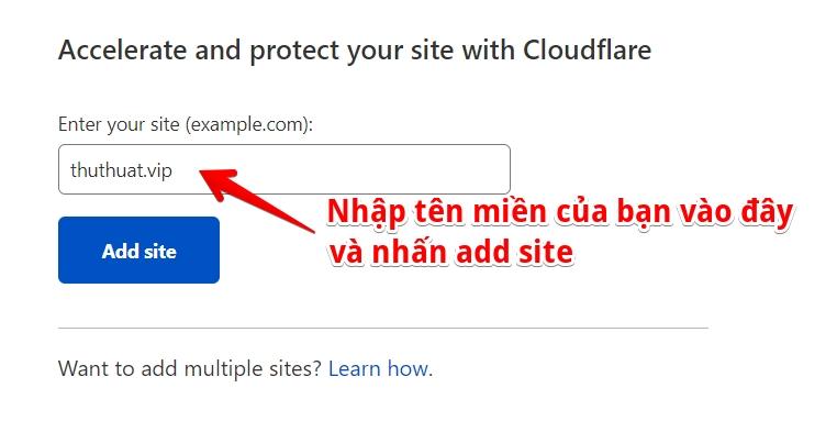 thêm tên miền vào cloudflare