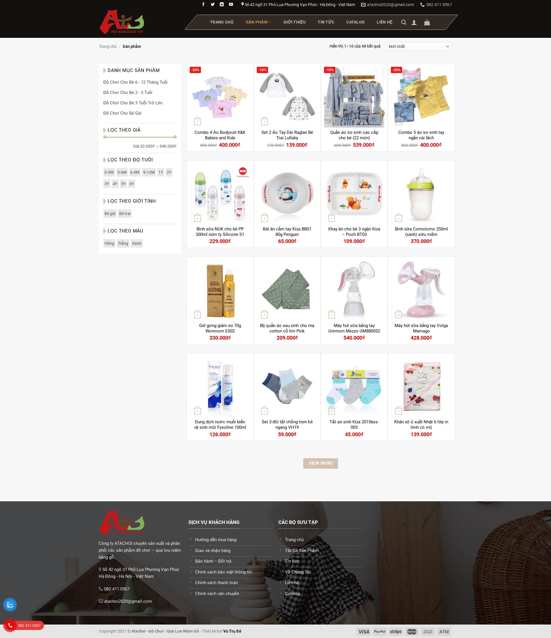 Mẫu website bán đồ chơi gỗ – ATACHOI