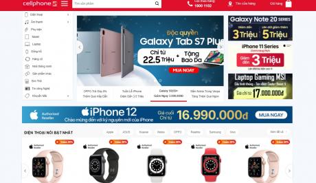 Giao diện website WordPress bán điện thoại Cellphones