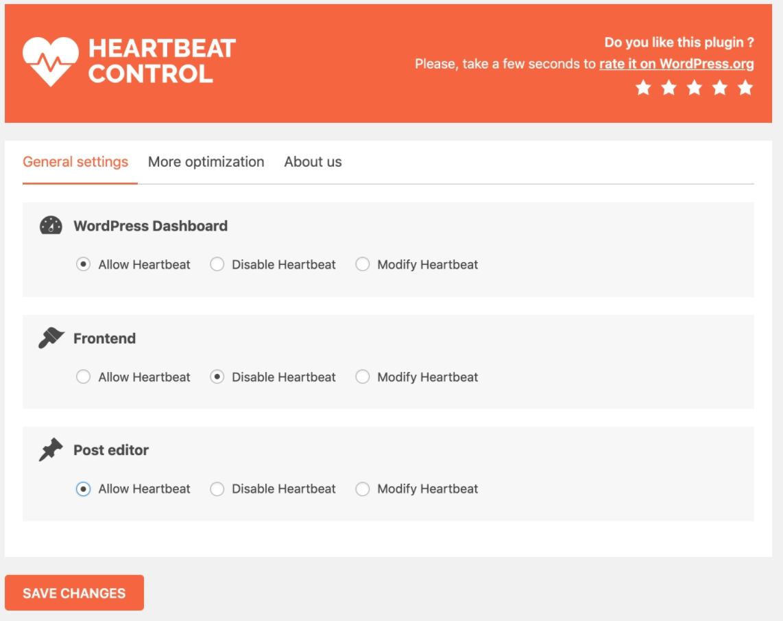tắt wordpress heartbeat api