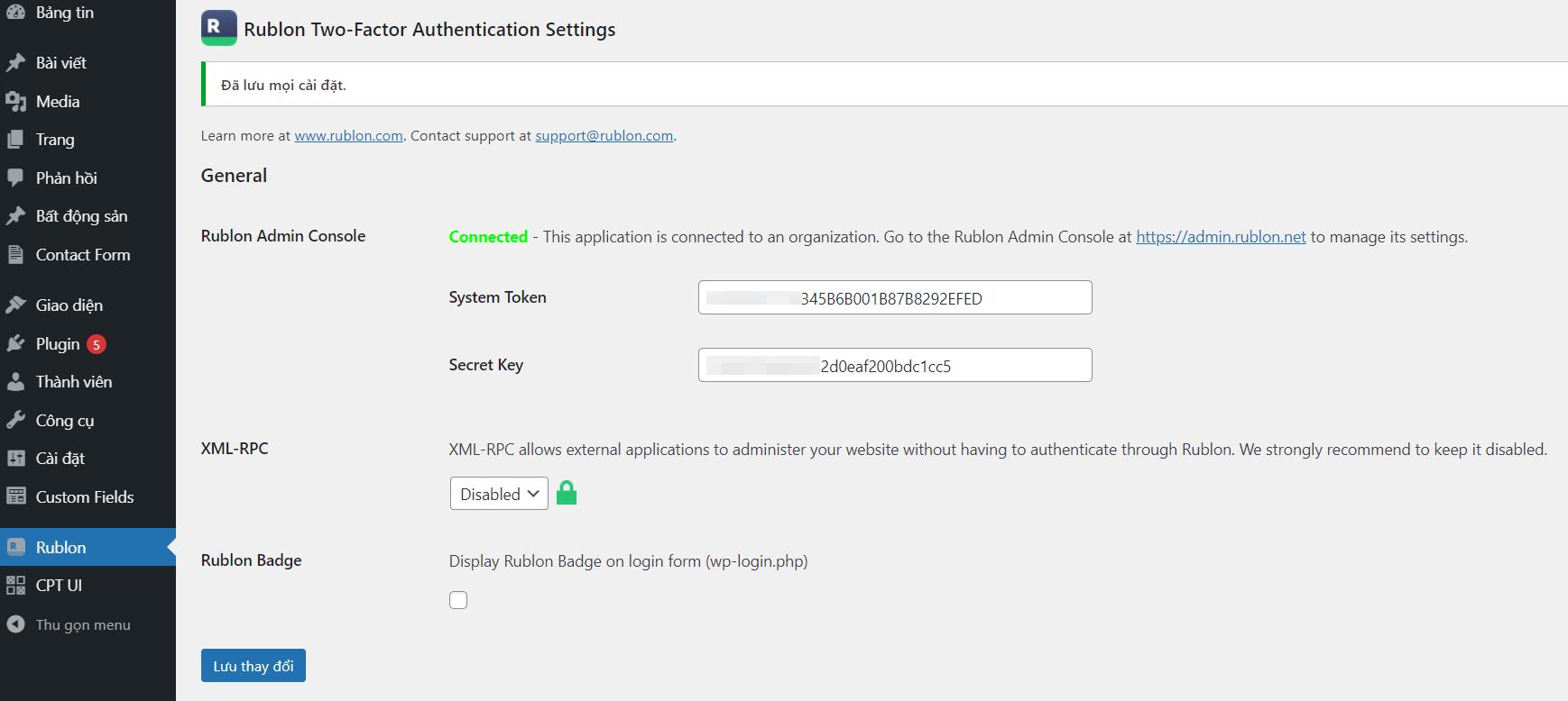 cài đặt rublon two factor authentication settings
