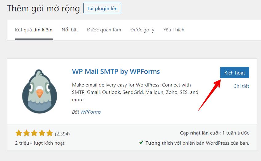 kích hoạt plugin gửi email
