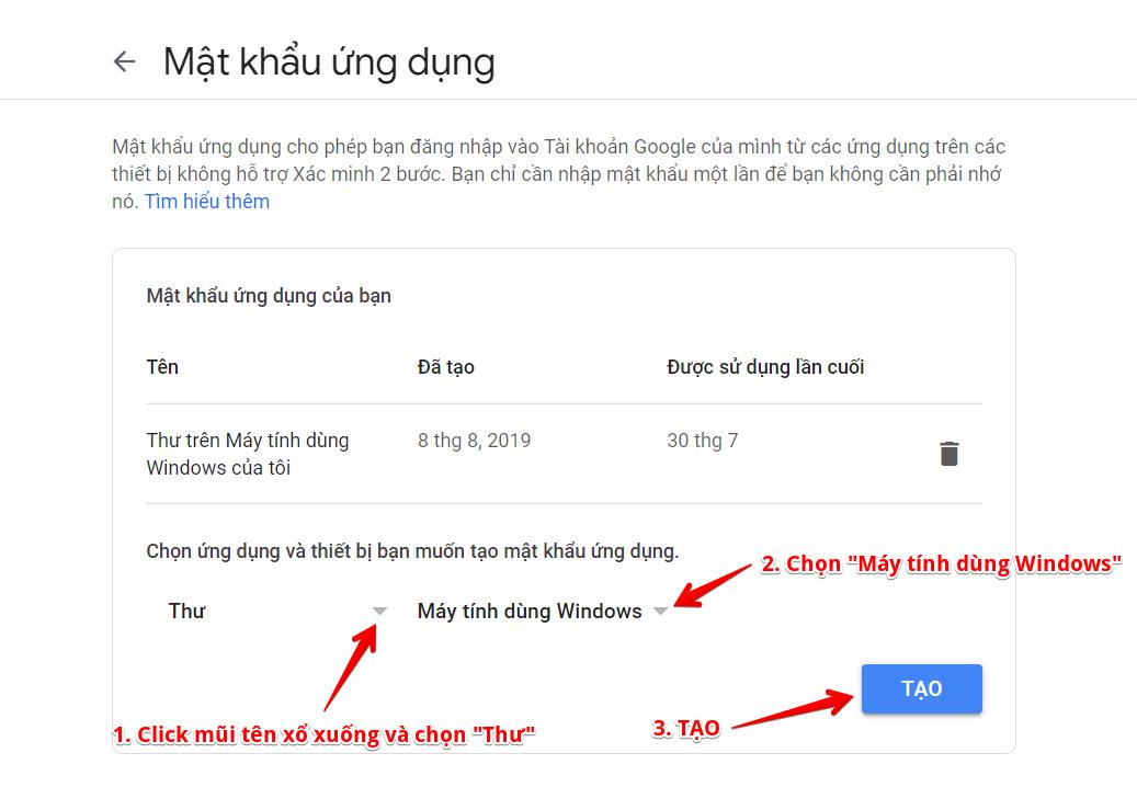 mật khẩu ứng dụng gửi thư google