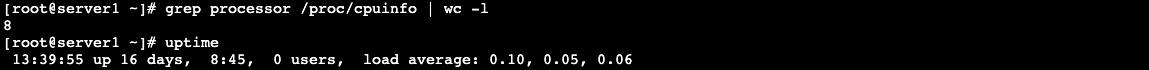kiểm tra core và uptime của máy chủ