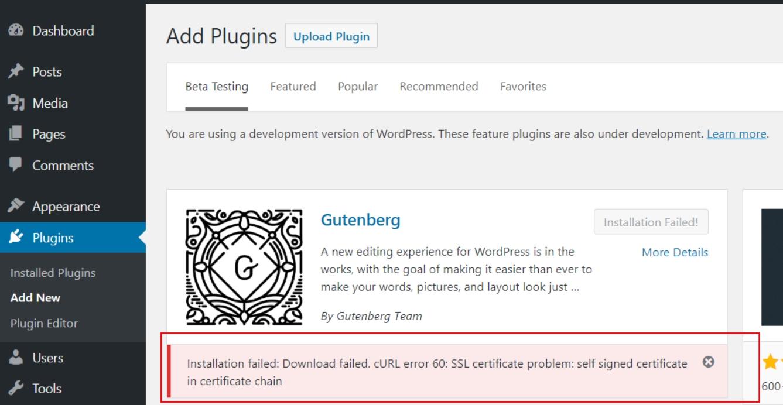 curl error 60 ssl certificate problem